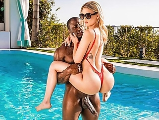Blonde in sexy bodysuit gets fucked with dark-skinned foreigner... blonde interracial straight