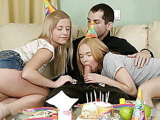 Happy Birthday! As A Present You May Fuck Two Petite Blondes blowjob cumshot teen (18+)