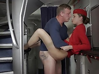 Passenger Fucks Airline Stewardess in NYLON Stockings and Heels! cumshot hardcore stockings