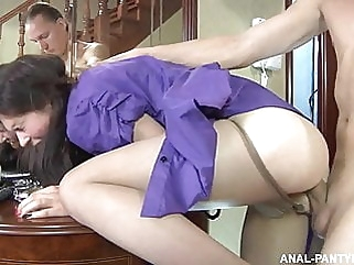 The party ended with anal sex anal blowjob brunette