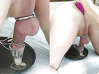Wife sits on his face then milks his prostate with e-stim handjob femdom facesitting