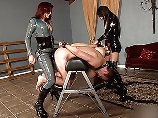 Goddess Deanna and Mistress Esmi with two Slaves in Cage ! bdsm femdom latex