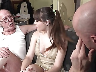 Grandpa watches granddaughter fucking blowjob brunette hairy