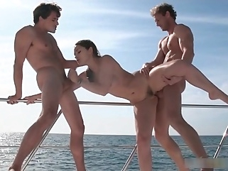 Dani Daniels has a threesome in a yacht big ass facial straight
