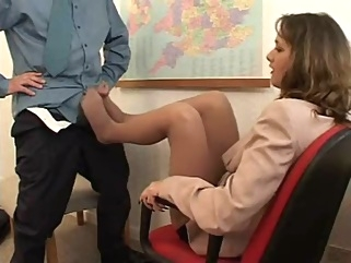 footjob in nylons at the office brunette cumshot fetish